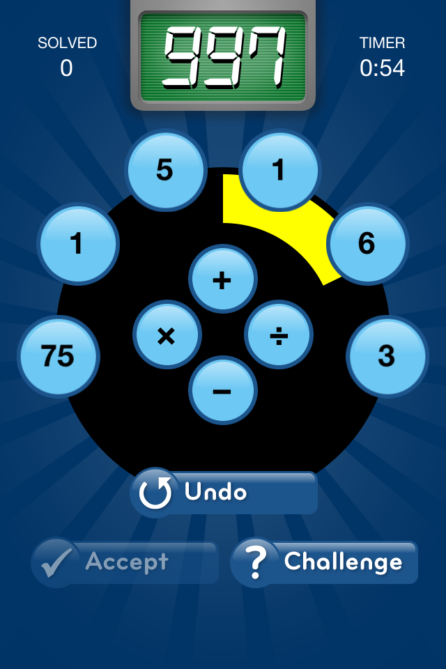 NumberRace game screen