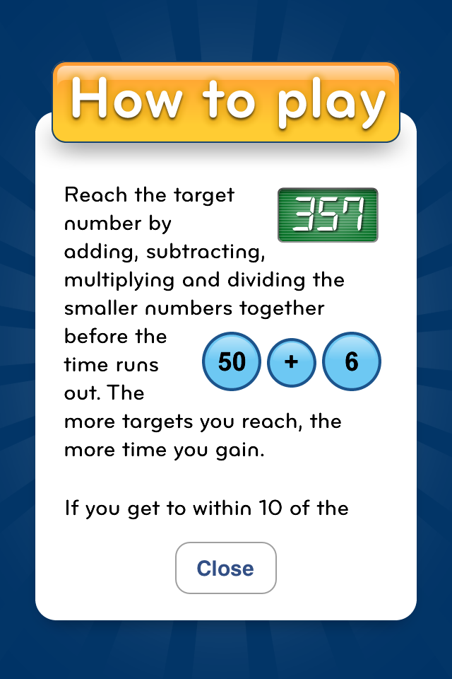 NumberRace instructions screen