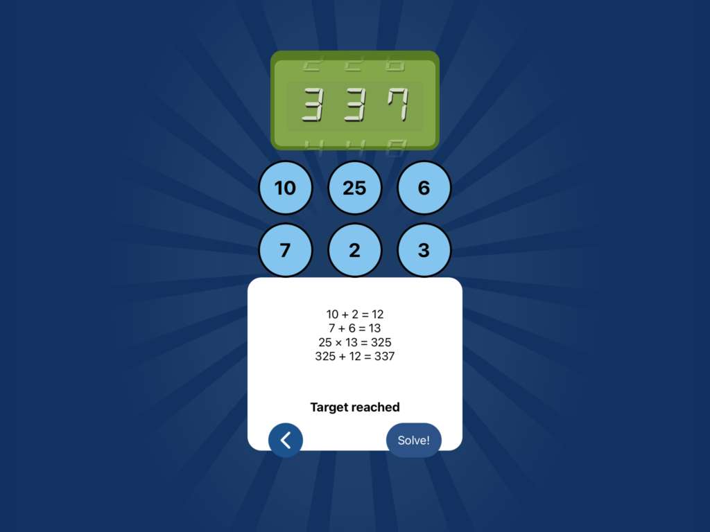 The solver in NumberRace, showing a completed solution