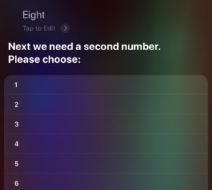 A Siri conversation where some input has been given but the same number is requested