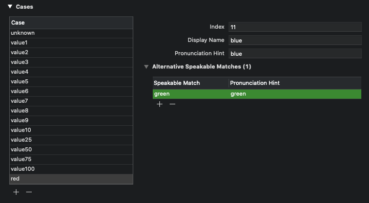 A test enum case with identifier .red, display name blue and alternative speakable match green